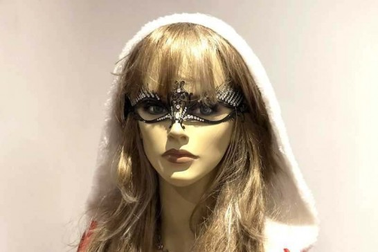 Filigree metal masquerade mask - Gilda shown on female face