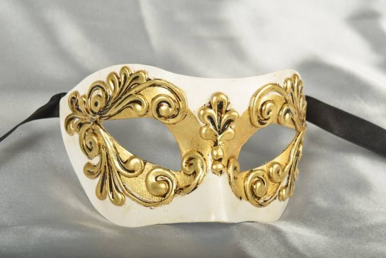 Venetian mask Colombina Occhi in gold and white