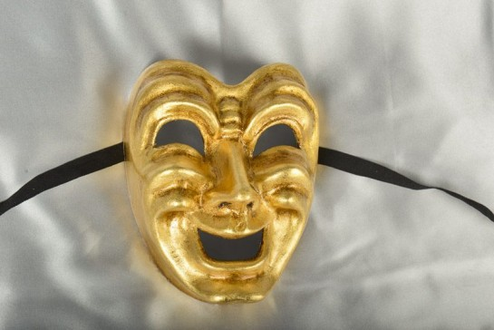 Gold comedy theatre masks