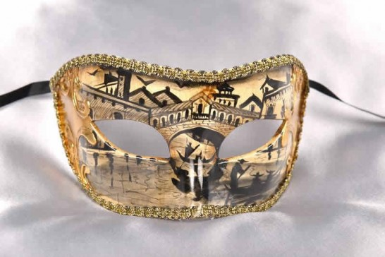 Gold masquerade mask with Venetian Scenes