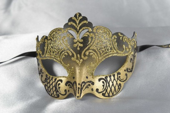 black and gold Giglio Venetian mask