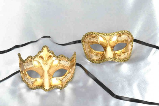 2 gold leaf masks with musical notes - Larga Giglio Melody