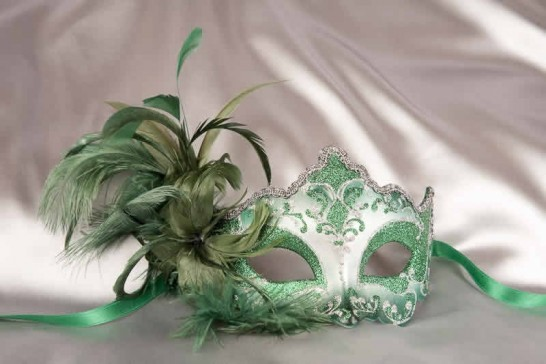 Green Daniela Silver - Feathered Masquerade Masks for Women
