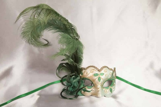 Green and gold feathered mask