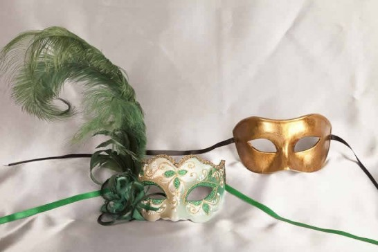 Green Colo Iris Gold - Couples Masks with Feathers