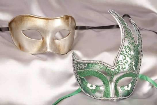 green silver ball masks for couple