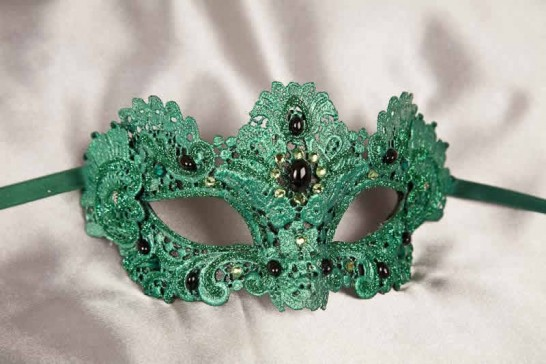 Green Macrame - Ladies Luxury Lace Mask with Gems and Crystals