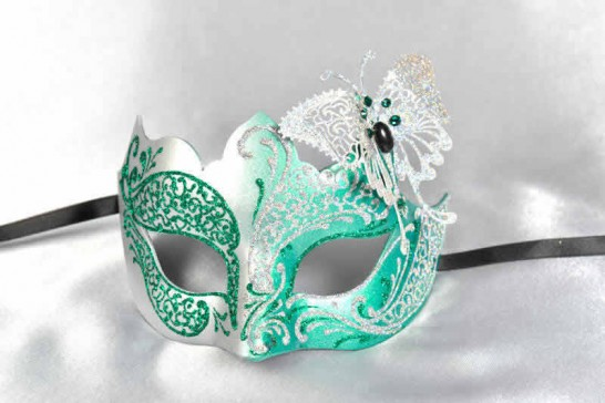 green silver butterfly ball mask
