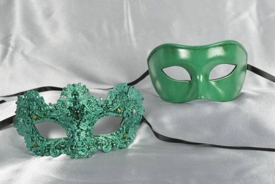 green luxury lace masks for couple