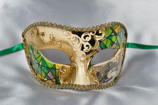 Green Mask with Venetian Scenes