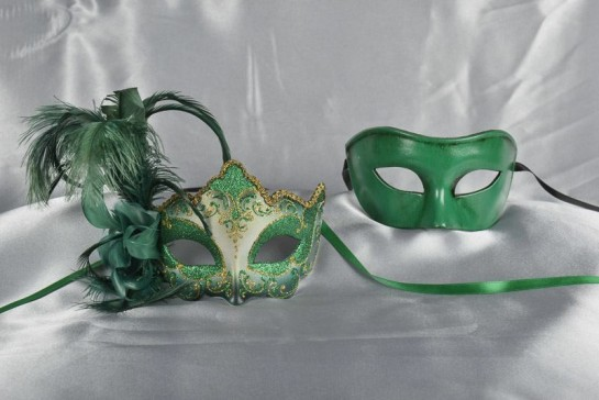green couples feathered masks