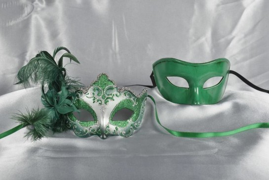 couples masks green silver