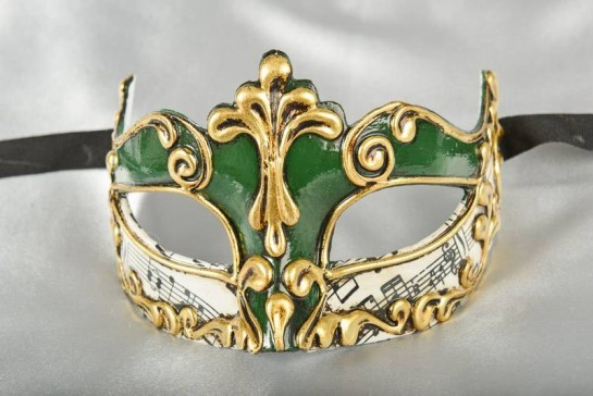 green and gold Luxury Venetian mask for women - Madam Music