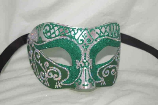 Unisex Colombina mask with glitter and silver trim in green