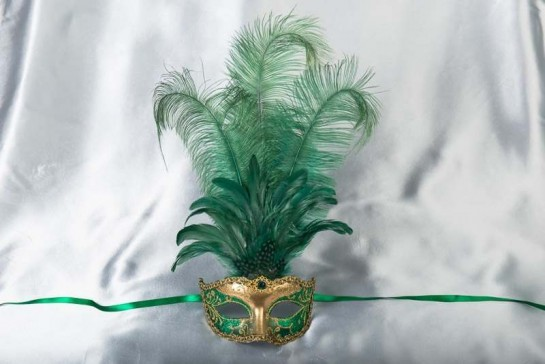 Luxury tall feather masquerade mask in green and gold