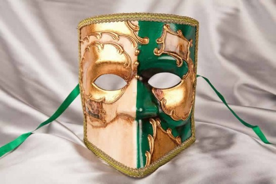 green and gold Bauta Masked Theatre Masks with Venice Scenes