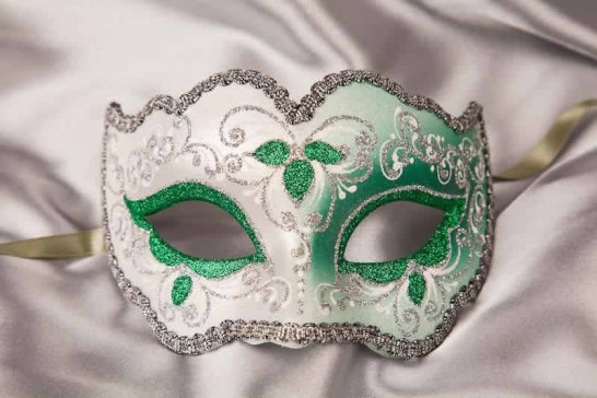 green and silver mask - Iris