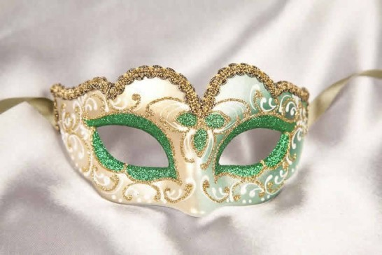 Small masquerade mask Baby Gold in Green
