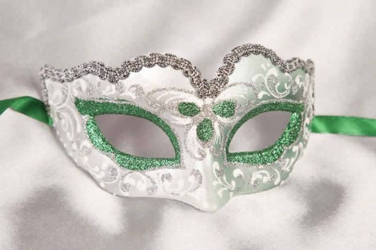 Small masquerade mask Baby Silver in Green
