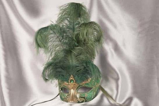 Green Struzzo Gold - Ladies Ball Mask with Centre Feathers