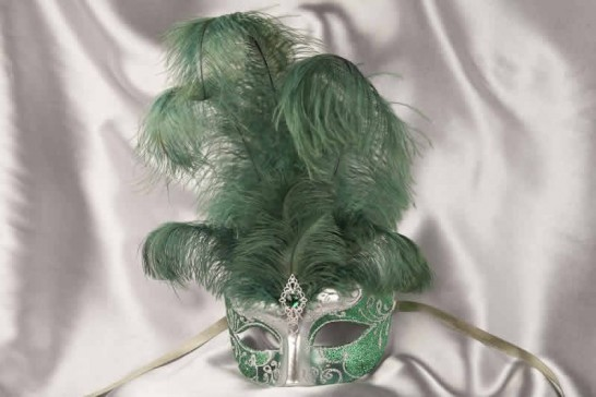 Green Struzzo Silver - Ladies Ball Mask with Centre Feathers