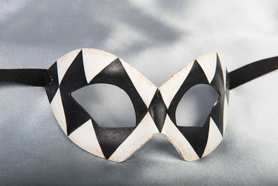 Black and White Hero Arlecchino checked mask