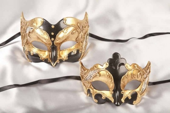 Couples Joker Giglio masks black and gold