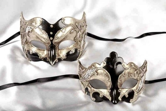 Black Joker Giglio Silver - Couples Masked Ball Masks