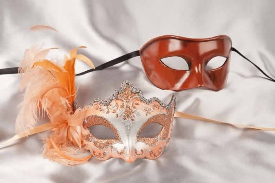 peach silver couples masks