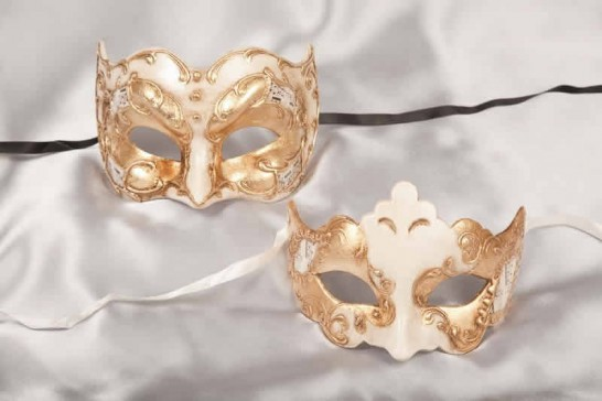 Couples half face masks - cream and gold
