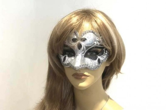 Iris carnival masquerade mask on female face