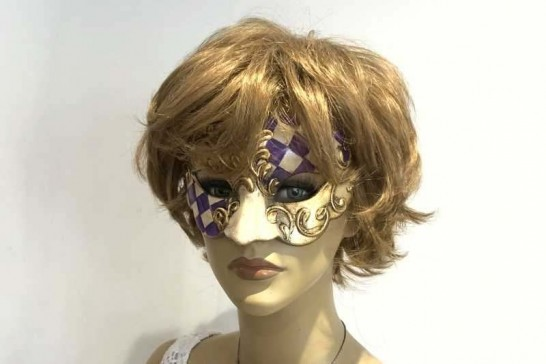 Sweetheart square check masquerade mask on female model face