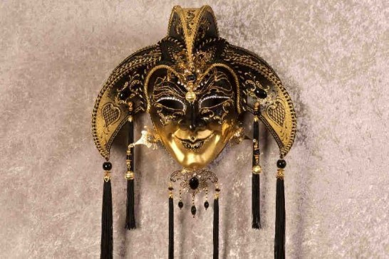 Black Jolly Uomo Fucina Gold - A Grand Jolly Jester Venetian Wall Mask with Headdress Bells and Crystals