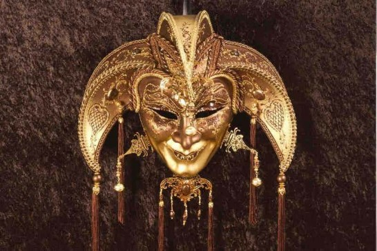 Bronze Jolly Uomo Fucina Gold - A Grand Jolly Jester Venetian Wall Mask with Headdress Bells and Crystals