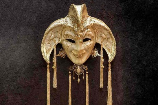 White Jolly Uomo Fucina Gold - A Grand Jolly Jester Venetian Wall Mask with Headdress Bells and Crystals