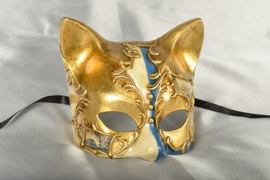 Gatta Double - Animal Kitten Mask with Venetian Scenes | Green or Blue