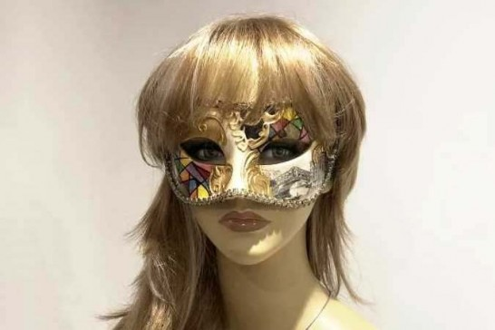 masquerade ball mask with Venetian Scenes on female face