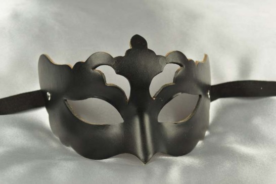 Ladies black leather mask - Rondin