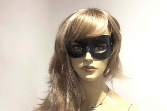 Leather Occhi eye masquerade mask on female face