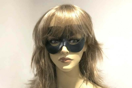 Leather Vampire masquerade Mask on female face
