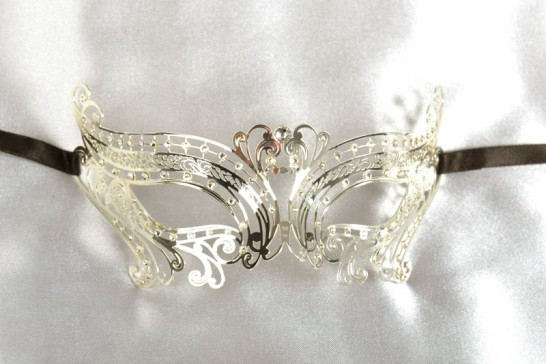 silver luxury filigree metal ball mask for women named Chic