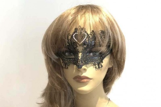 black lace metal masquerade mask on female face