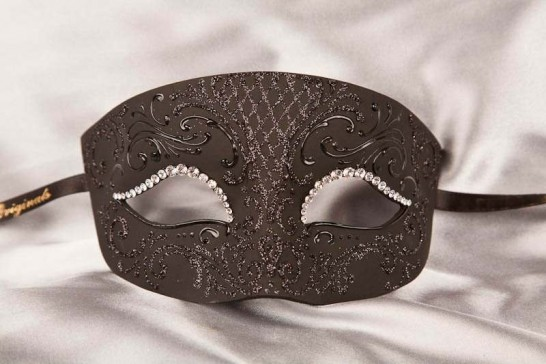 Black Venetian paper mache mask with crystals - Tomboy Strass
