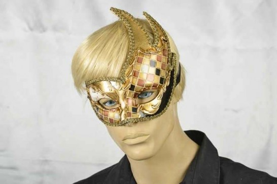 Venetian Swan masquerade mask on male face