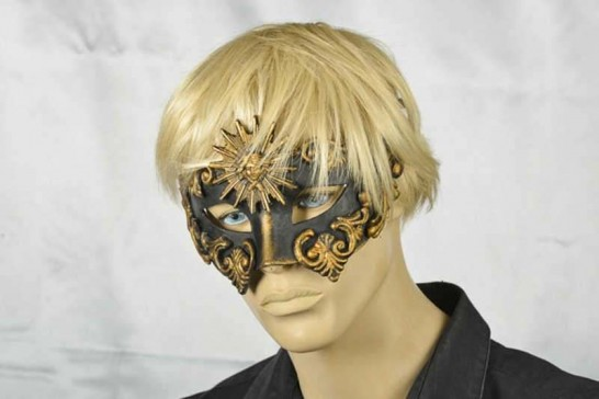 Venetian masquerade ball mask Barroco Sole on male model face
