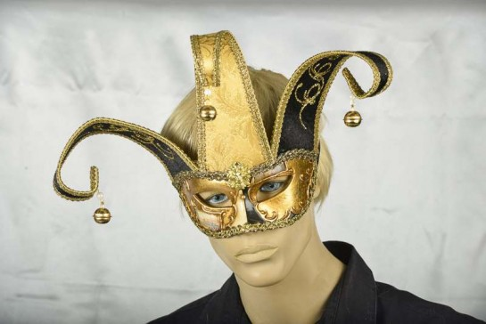 colombina Venetian Colombina Mask with headress on male face