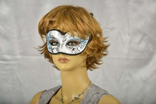 Blue Colombina Crystal Masquerade mask on female face