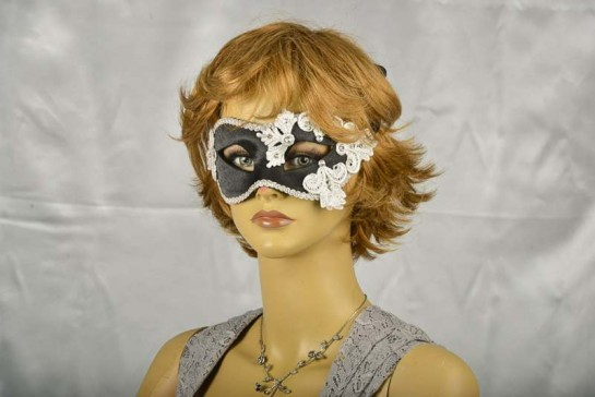 white and silver lace masquerade mask on model