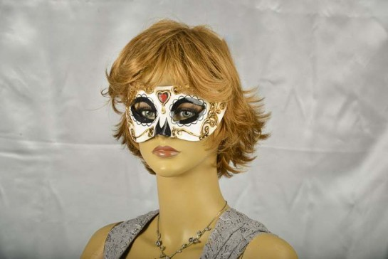 day of the dead colombina masquerade mask on female face