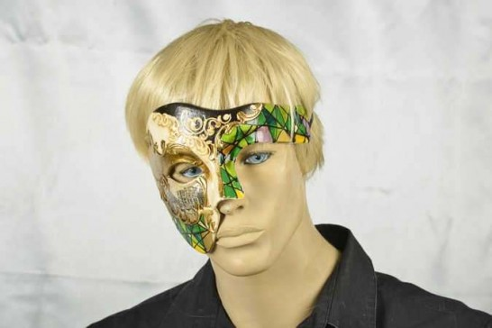 Phantom of the opera mask with Venetian Scenes on male model face